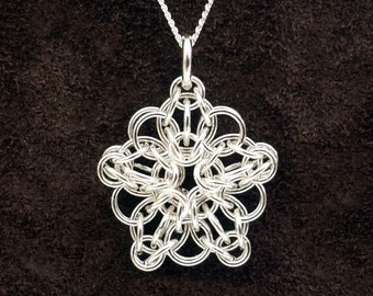 Tiny Celtic Star Chainmail Pendant - Sterling Silver