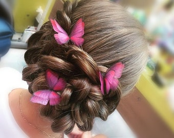 Silk Morpho Butterfly (3 hair pins)
