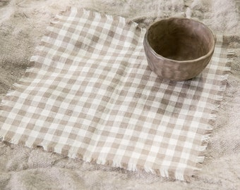 Linen Placemats, Set of 6 Linen Placemats, Chequered Placemats, Natural Placemats