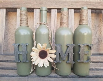 Home wine bottle set. Home decor. Rustic decor. Table decor. Mantel decor. Painted wine bottles. Decorated wine bottles. Wine bottle.