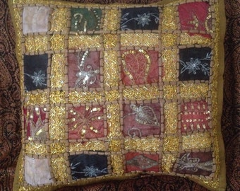 Ethnic patchwork Indian cushion cover yellow/brown/mustard/gold