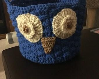 Owl crochet basket/tote