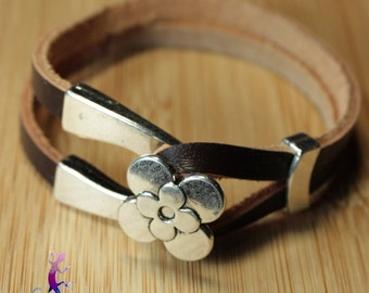 Leather Bracelet Brown or black with silver metal flower clasp choice