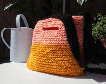 Gold, Peach, and Black Knitted Handbag, Knitted Shoulder Bag