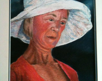 Original Pastel Painting - Lady in a White Hat