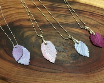 Polymer clay leaf necklaces