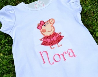 Peppa Pig Birthday Shirt // Peppa Pig Shirt // Girl Birthday Shirt // Monogrammed Birthday Shirt // Peppa Pig 1st First 2nd Second