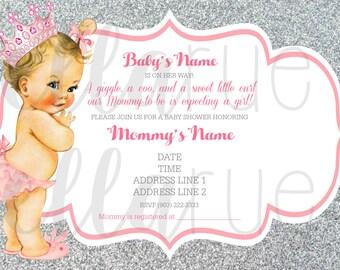 Princess baby ruffle baby shower invitation pink glitter