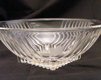 1920s Diamond Pattern Moulded Glass Large Serving Bowl