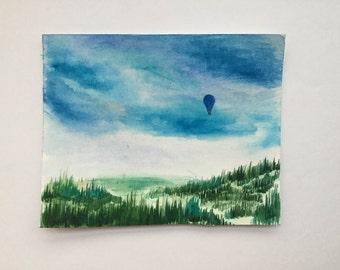 Hot air baloon original watercolor painting collectibles
