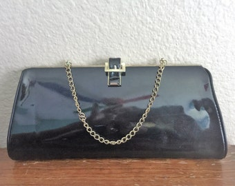 Vintage Mid Century Black Patten Leather Clutch with gold chain handle 1950's