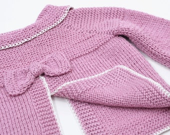 Purple Cardigan. 1-2 Y girl. Girl sweater. Handmade Cardigan. Knitwear