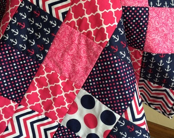 Hot Pink & Navy Nautical Baby/Toddler Quilt