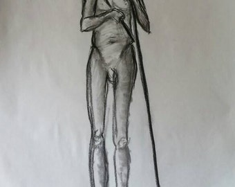 5 minute Model Drawing in Charcoal 18x24 Newsprint