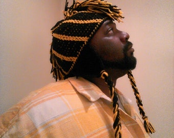 Black and Gold mohawk beanie hat