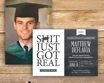 Graduation Invite, Graduation invitation, Shit just got real, Class of 2017, Graduate, censored, printable, instant download