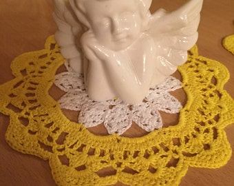 Hand made crocheted Doilies white/yellow beautiful decoration
