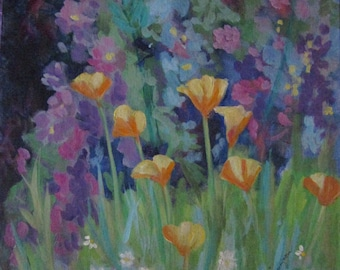 Vintage hand painted original PAINTING signed M.Sturgeon floral flowers poppies wildflowers acrylic