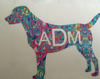 Lilly Pulitzer inspired dog monogram decal