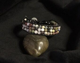 Uniquely handmade stone leather wrap bracelet, chan luu style beaded jewelry, bohemian fashion bracelet