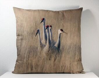 """16""""x 16"""" Decorative Pillow Cover with Bosque del Apache Five Sandhill Cranes Photo Print"""