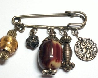 Antique Bronze Brooch Pin with Acorn, Lucky Coin and Charms
