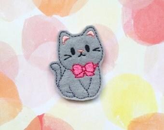 Felties, Grey Cat Felties, Gray Cat Felties, Animal Felties, Planner Clip Felties, Hair Bow Supply, Felt Applique, Embroidered Applique