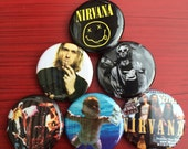 "1.25"" Nirvana pin back button set of 6"