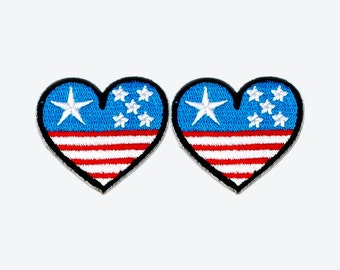 Set of 2 - The Heart of United States. Iron-on Patch/Flex stickers/Applique