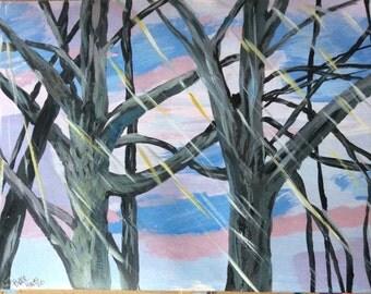 RainSwept Trees original acrylic
