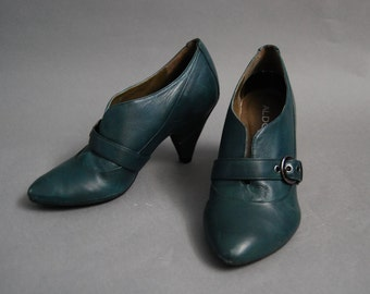 Teal green leather heels