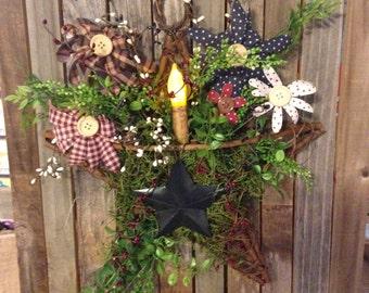 Primitive Americana Grapevine Star Basket Floral