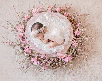 Newborn Digital Backdrop - Pink Magnolia Flower Wreath Background Composite