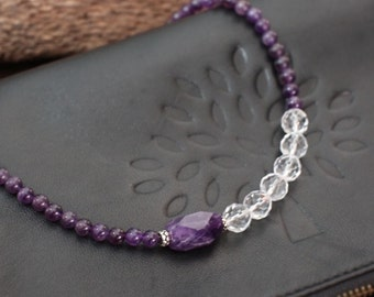 Natural amethyst necklace, short necklace(01060016072903)