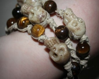Handmade, Tigers Eye & Skull Beaded Hemp 3-Bracelet Set.