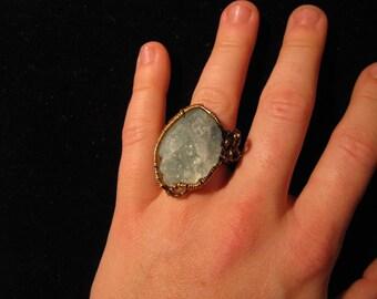 Wire wrapped original aquamarine ring