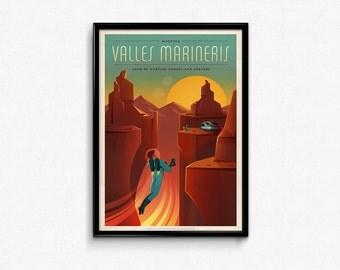Vintage Space Travel Valles Marineris Art Print