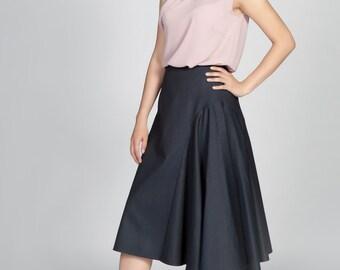 Panel Midi Skirt Navy Blue