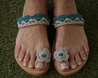 Leather / Knitted Cotton Sandals