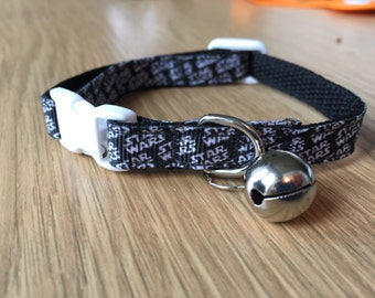 Black and White Star Wars Text Kitten/Cat Collar (Quick Release)