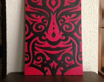 Pyrography box wood sided maori