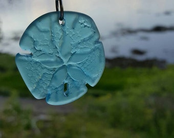 Blue sea glass sand dollar necklace