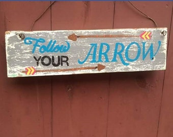 Hand painted sign on reclaimed wood