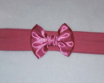 Baby's Cerise Pink Cotton Lycra Hair Band with Satin Bow 0-36 months Headband