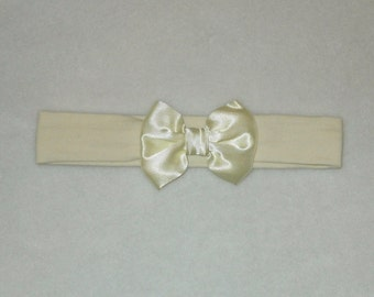 Baby's Lemon Yellow Cotton Lycra Hair Band with Satin Bow 0-36 months Headband