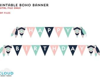 Printable Boho Banner - Happy Birthday