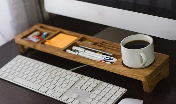 Desk Organizer Wood Desktop Organizer Office & Home Organizer Oak Wood Organizer