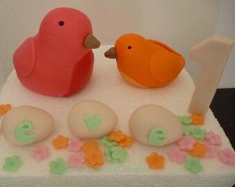 Cute Bird Gumpaste Fondant Cake Topper Birthday Celebration Cake Decoration