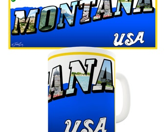 Greetings From Montana USA Ceramic Novelty Gift Mug