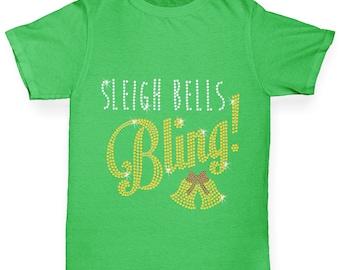 Girl's Sleigh Bells Bling Rhinestone Diamante T-Shirt